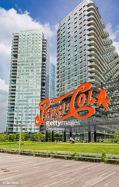 pepsi-cola sign in long island city, queens, new york. - long island city stock photos and pictures