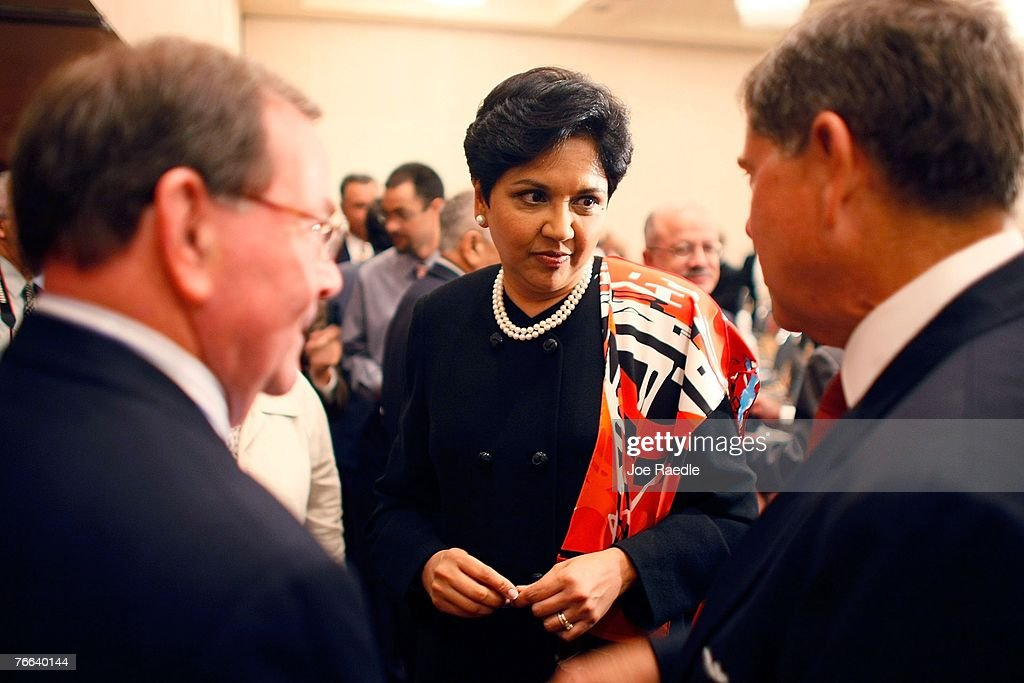 PepsiCo's chair and CEO, Indra Nooyi (C) attends the Miami Dade College Miami Leadership Roundtable September 10, 2007 in Miami, Florida. Nooyi guides one of the world's largest convenient food and beverage companies that has one of the most recognizable brand names.