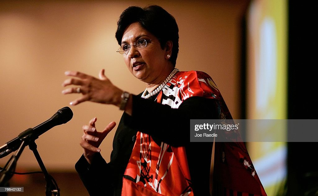 PepsiCo's chair and CEO, Indra Nooyi speaks at the Miami Dade College Miami Leadership Roundtable September 10, 2007 in Miami, Florida. Nooyi guides one of the world's largest convenient food and beverage companies that has one of the most recognizable brand names.