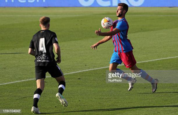 Peque Polo and Pol during the friendly match between FC Barcelona and Club Gimnastic de Tarragona, played at the Johan Cruyff Stadium on 21th July...