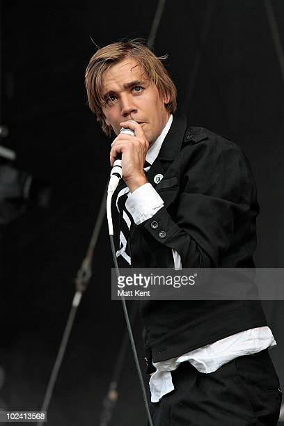 Per Almqvist of The Hives performs at Day 1 of Hard Rock Calling at Hyde Park on June 25 2010 in London England