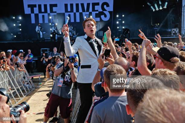 Per Amlqvist of The Hives perform at the Queens of the Stone Age and Friends show at Finsbury Park on June 30, 2018 in London, England.