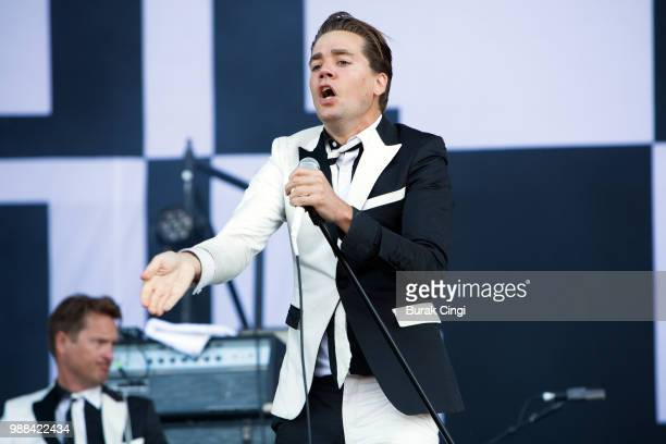 Per Amlqvist of The Hives perform at the Queens of the Stone Age and Friends show at Finsbury Park on June 30 2018 in London England