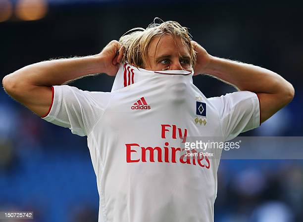 Per Ciljan Skjelbred of Hamburgis seen after the Bundesliga match between Hamburger SV and 1 FC Nuernberg at Imtech Arena on August 25 2012 in...