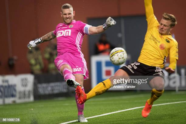 Per Frick of IF Elfsborg tries to block a shoot from Tommy Naurin, goalkeeper of GIF Sundsvall during the Allsvenskan match between IF Elfsborg and...