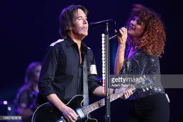 Per Gessle and Helena Josefsson of Roxette perform during a concert at Admiralspalast on October 22, 2018 in Berlin, Germany.