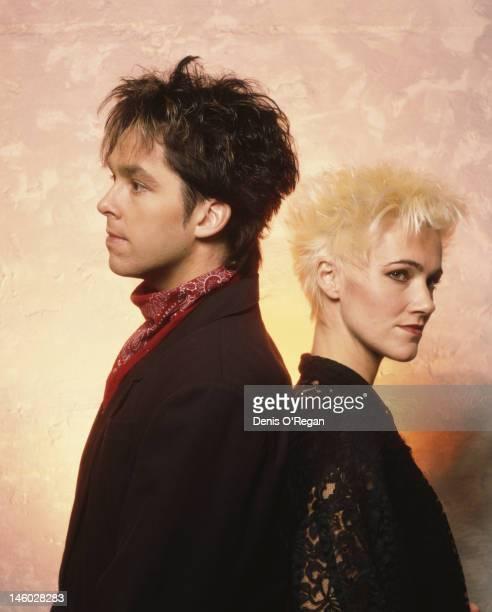 Per Gessle and Marie Fredriksson of Swedish pop duo Roxette circa 1987