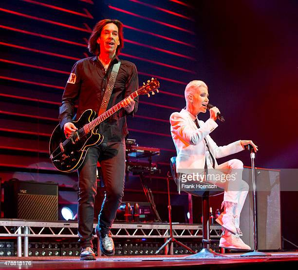 Per Gessle and Marie Fredriksson of the Swedish band Roxette perform live during a concert at the O2 World on June 27 2015 in Berlin Germany