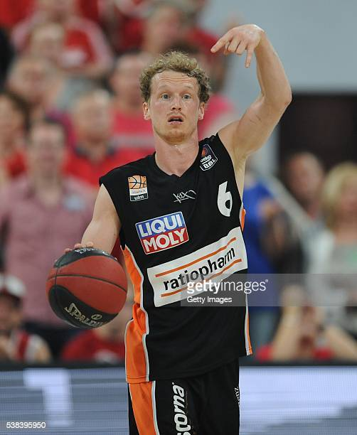 Per Günther dribbles the ball during the BEKO BBL Final game 1 between Brose Baskets Bamberg and ratipopharm Ulm at Brose Arena on June 5 2016 in...