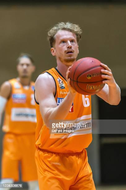 Per Guenther of ratiopharm ulm controls the Ball during the pre-season friendly match between Ratiopharm Ulm and KK Olimpija at OrangeCampus on...