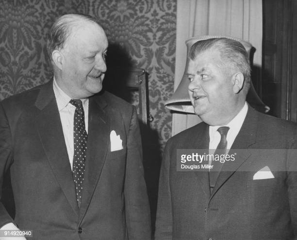 Per Haekkerup the Danish Foreign Minister during talks with British Foreign Secretary R A Butler or Rab Butler at the Foreign Office in London 4th...
