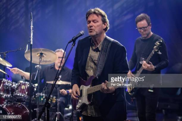 Per Hillestad Svein Dag Hauge and Jonny Sjo from the band Lava perform on stage at a streaming concert at Sentralen during the coronavirus crisis on...