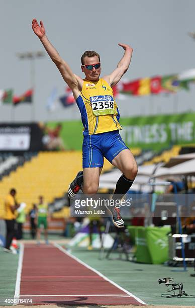 Per Jonsson of Sweden competes in the Men's Long Jump T13 Final during the Morning Session on Day One of the IPC Athletics World Championships at...