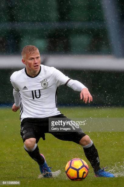 Per Lockl of Germany during the UEFA Development Tournament Match between Germany U16 and France U16 on February 11 2017 in Vila Real Santo António...