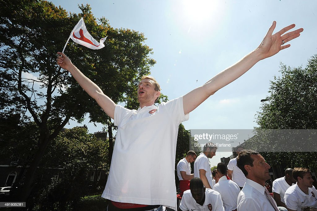 Per Mertesacker at the Arsenal Victory Parade after winning the FA Cup Final on May 18, 2014 in London, England.