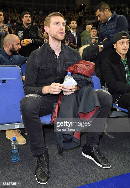 Per Mertesacker attends the Denver Nuggets v Indiana Pacers match as part of the NBA Global Games London 2017 at The O2 Arena on January 12 2017 in...