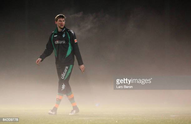 Per Mertesacker looks on during a training session during day one of Werder Bremen training camp on January 8 2009 in Belek Turkey