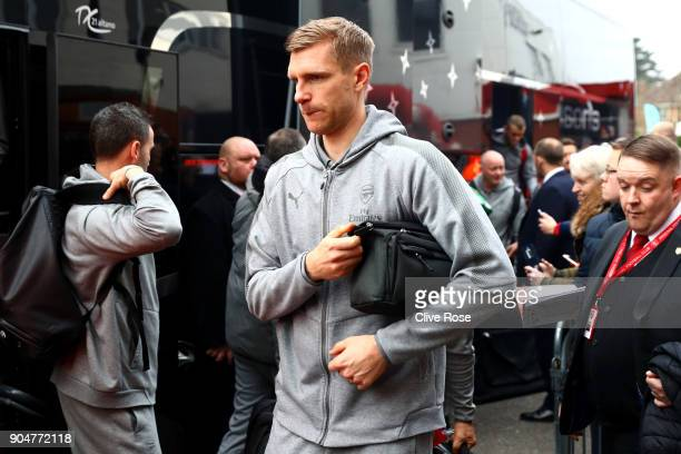 Per Mertesacker of Arsenal arrives at the stadium prior to the Premier League match between AFC Bournemouth and Arsenal at Vitality Stadium on...