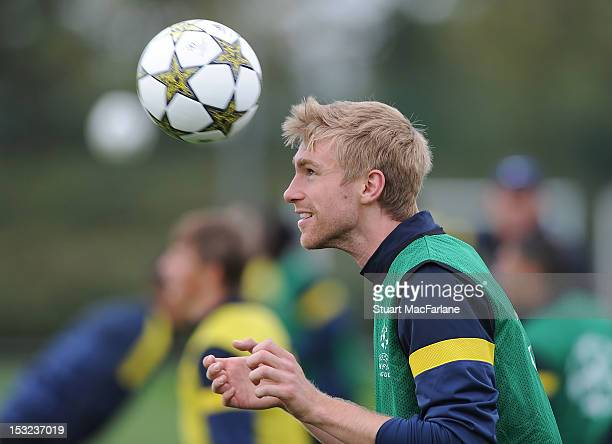 Per Mertesacker of Arsenal during a training session at London Colney on October 2, 2012 in St Albans, England.