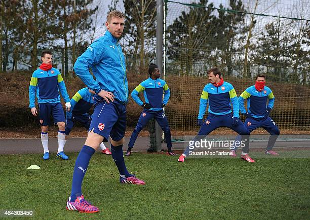 Per Mertesacker of Arsenal during a training session at London Colney on February 24, 2015 in St Albans, England.
