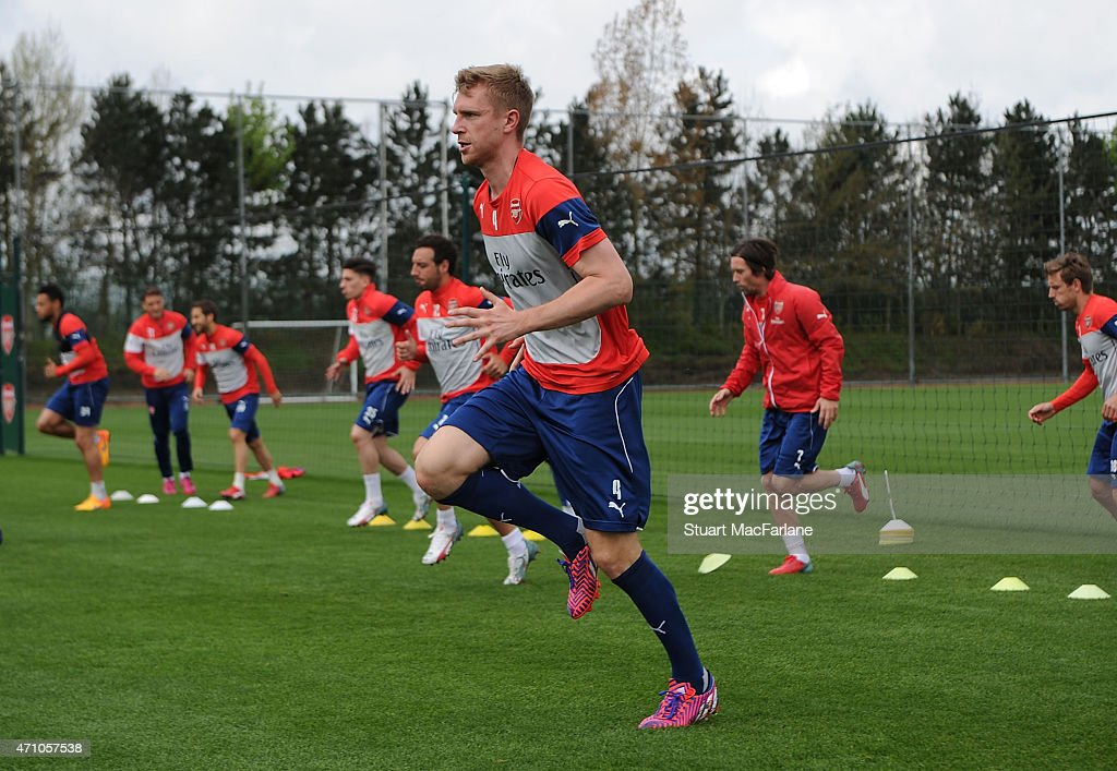 Per Mertesacker of Arsenal during a training session at London Colney on April 25, 2015 in St Albans, England.