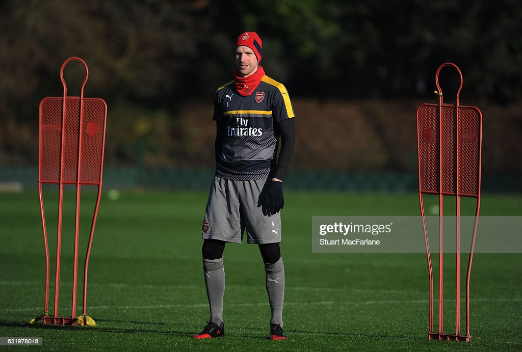 Per Mertesacker of Arsenal during a training session at London Colney on January 18, 2017 in St Albans, England.