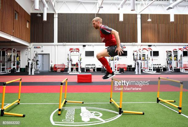 Per Mertesacker of Arsenal during a training session at London Colney on August 2, 2017 in St Albans, England.