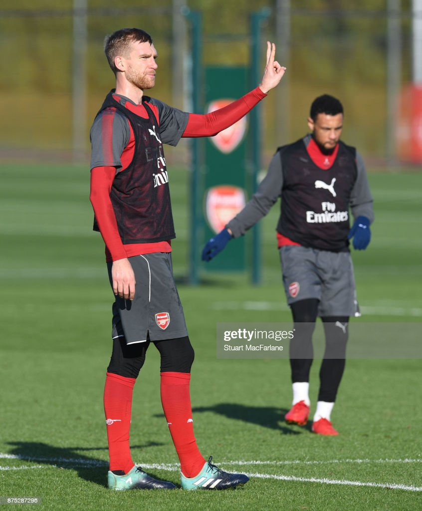 Per Mertesacker of Arsenal during a training session at London Colney on November 17, 2017 in St Albans, England.