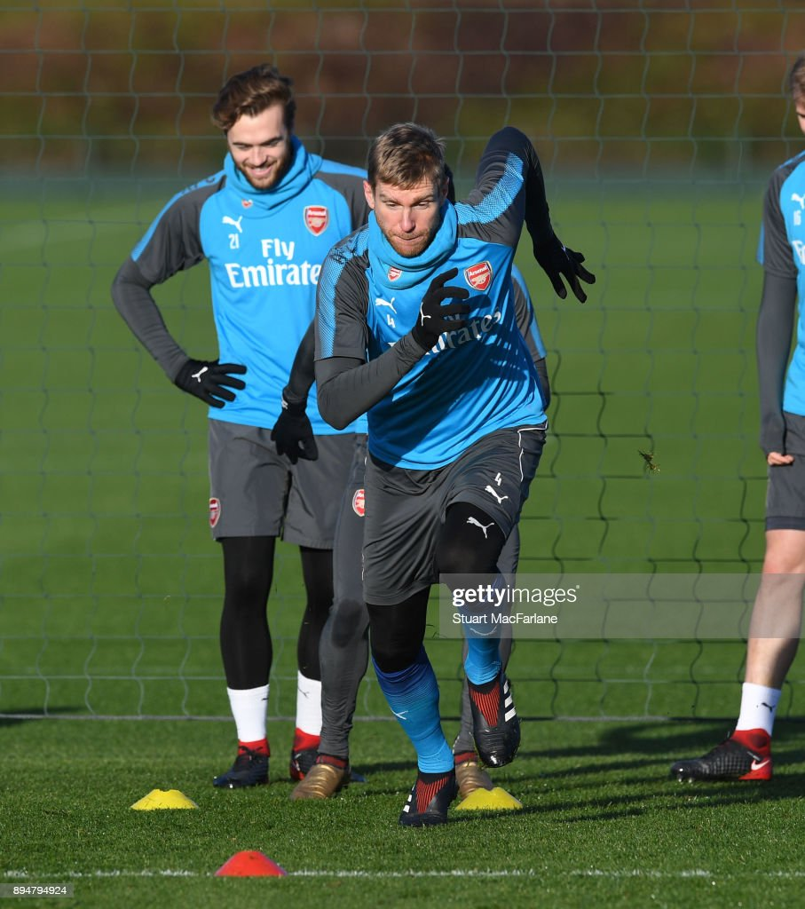 Per Mertesacker of Arsenal during a training session at London Colney on December 18, 2017 in St Albans, England.
