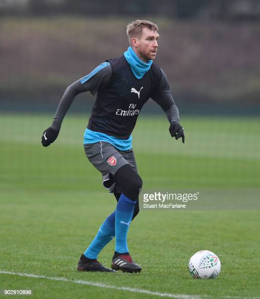 Per Mertesacker of Arsenal during a training session at London Colney on January 9 2018 in St Albans England