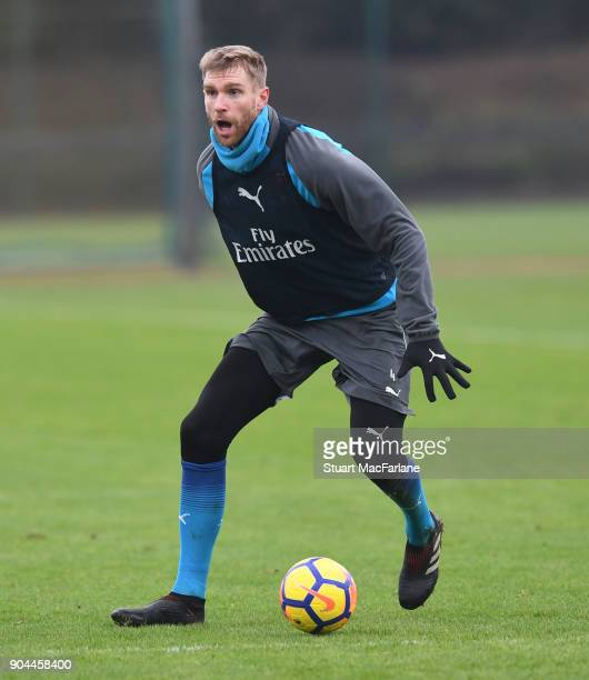 Per Mertesacker of Arsenal during a training session at London Colney on January 13 2018 in St Albans England