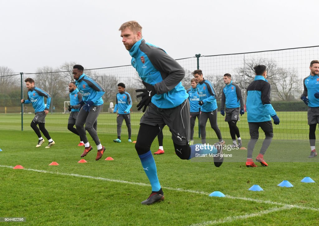 Per Mertesacker of Arsenal during a training session at London Colney on January 13, 2018 in St Albans, England.
