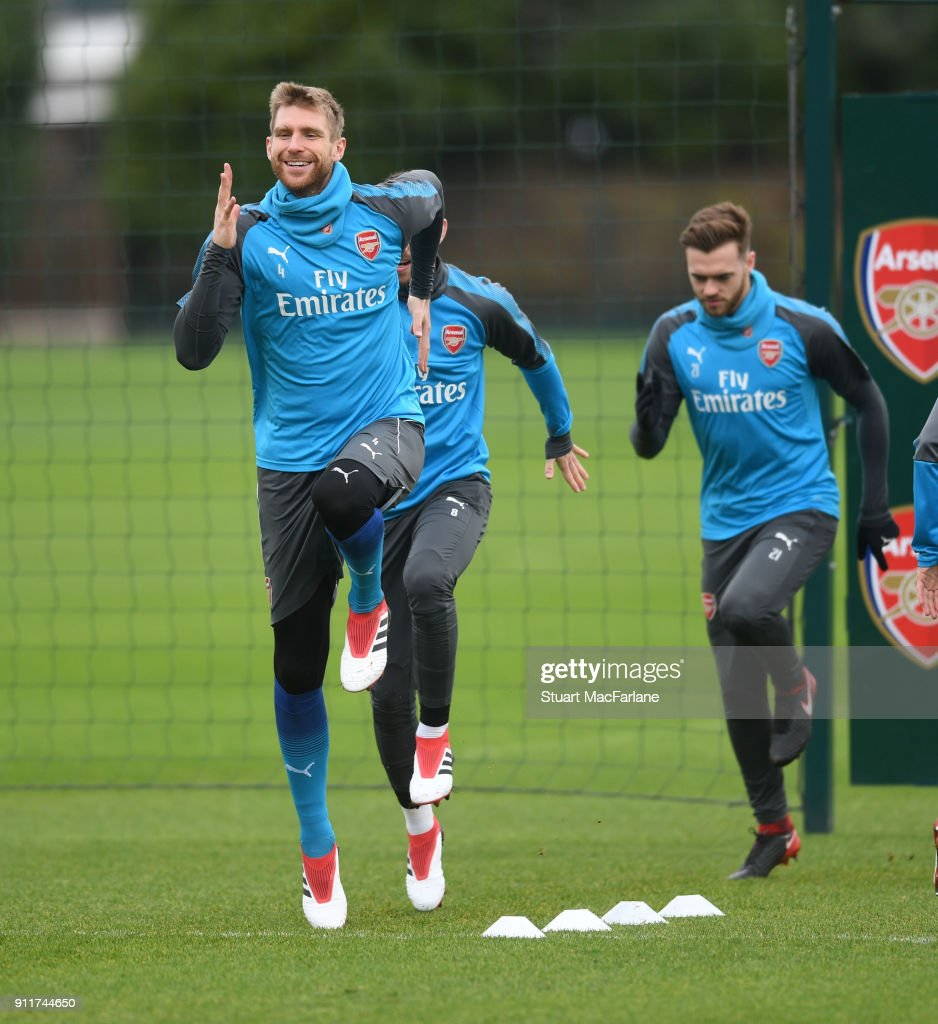 Per Mertesacker of Arsenal during a training session at London Colney on January 29, 2018 in St Albans, England.