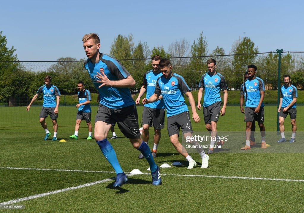 Per Mertesacker of Arsenal during a training session at London Colney on May 5, 2018 in St Albans, England.