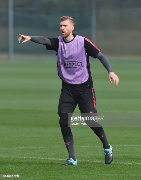 Per Mertesacker of Arsenal during the Arsenal Training Session at London Colney on September 27 2017 in St Albans England