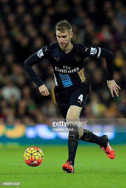Per Mertesacker of Arsenal during the Barclays Premier League match between Norwich City and Arsenal at Carrow Road stadium on November 29 2015 in...
