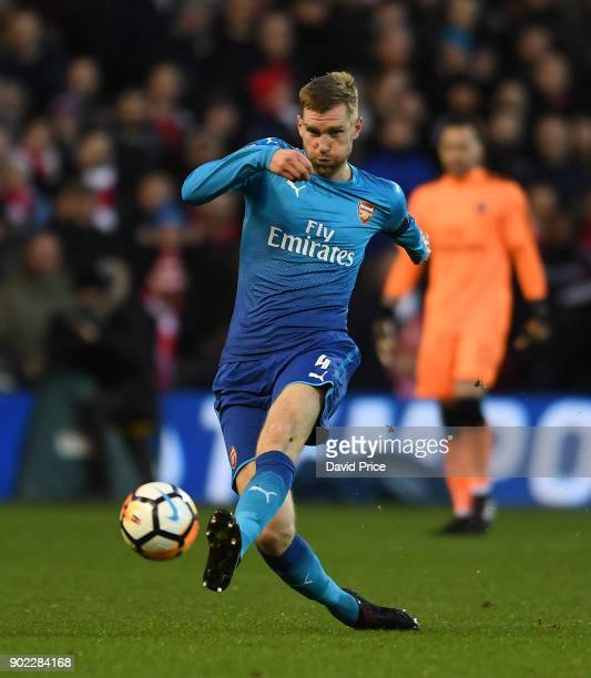Per Mertesacker of Arsenal during the Emirates FA Cup 3rd Round match between Nottingham Forest and Arsenal at City Ground on January 7 2018 in...