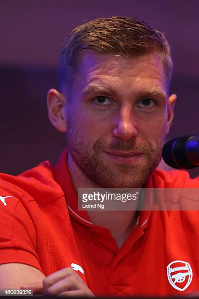 Per Mertesacker of Arsenal FC looks on during the Barclays Asia Trophy Press Conference at Grand Hyatt Hotel on July 14 2015 in Singapore