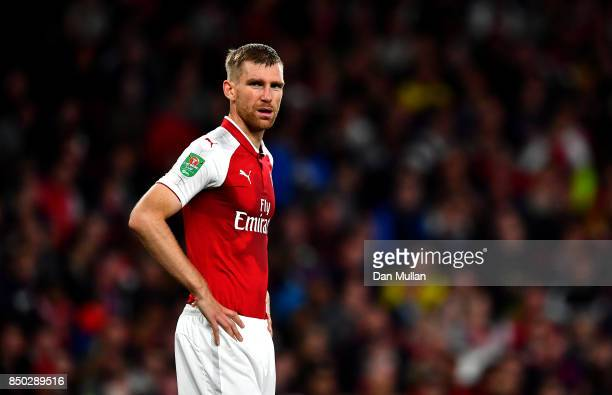 Per Mertesacker of Arsenal looks on during the Carabao Cup Third Round match between Arsenal and Doncaster Rovers at Emirates Stadium on September 20...