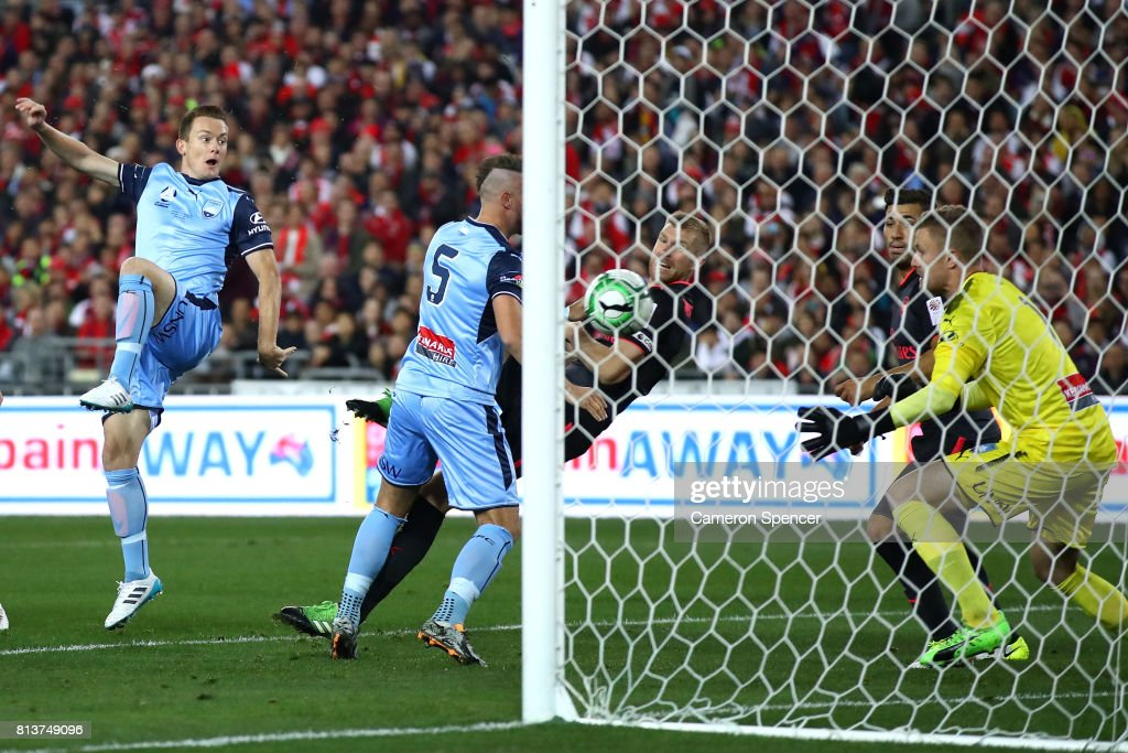Per Mertesacker of Arsenal scores a goal during the match between Sydney FC and Arsenal FC at ANZ Stadium on July 13, 2017 in Sydney, Australia.