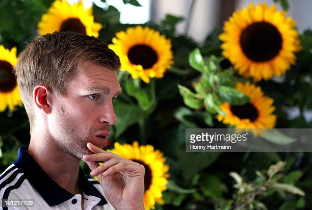 Per Mertesacker of Germany attends a press conference on September 04, 2012 in Barsinghausen, Germany, three days before their FIFA World Cup Brazil...