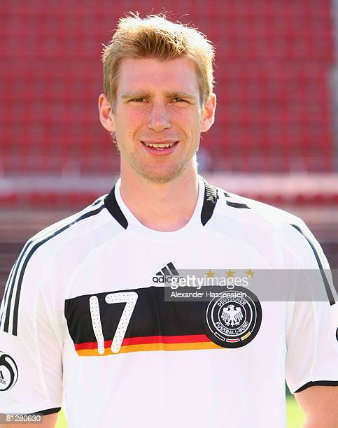 Per Mertesacker of Germany poses at the team photocall at the Son Moix stadium on May 29 2008 in Mallorca Spain