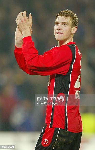 Per Mertesacker of Hannover 96 applauds to the fans after their Bundesliga victory over Vfl Wolfsburg on October 17 2004 at AWD Arena in Hannover...