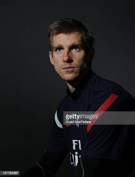 Per Mertesacker takes part in an Arsenal Magazine photoshoot at the Arsenal Training Ground London Colney on January 12 2012 in St Albans England