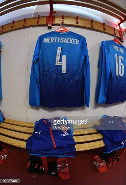 Per Mertesacker's Arsenal's kit laid out in the away changingroom before the Emirates FA Cup 3rd Round match between Nottingham Forest and Arsenal at...