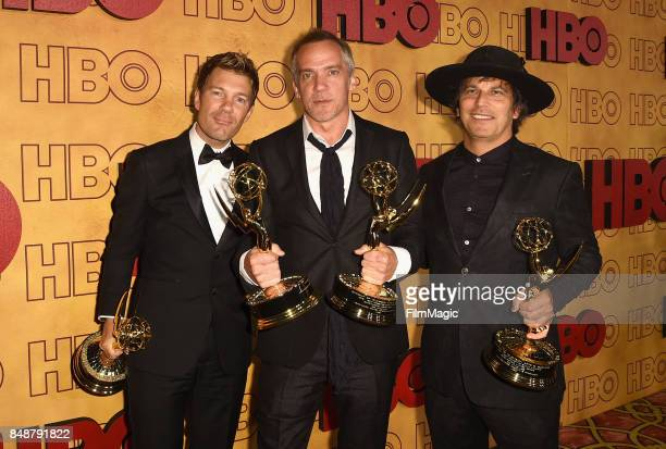 Per Saari JeanMarc Vallee and Nathan Ross attend the HBO's Official 2017 Emmy After Party at The Plaza at the Pacific Design Center on September 17...