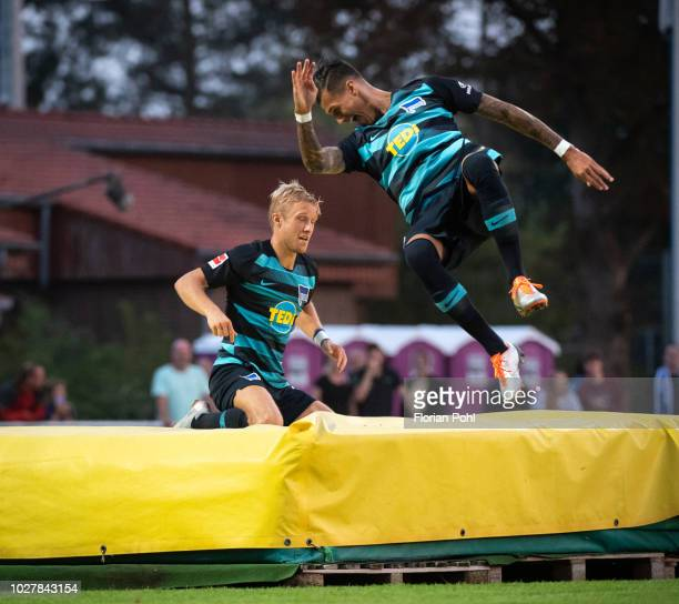 Per Skjelbred and Davie Selke of Hertha BSC celebrate after scoring the 0:3 during the friendly match between Hertha Zehlendorf against Hertha BSC at...