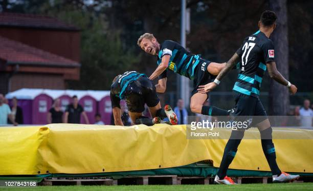 Per Skjelbred and Fabian Lustenberger of Hertha BSC celebrate after scoring the 0:3 during the friendly match between Hertha Zehlendorf against...