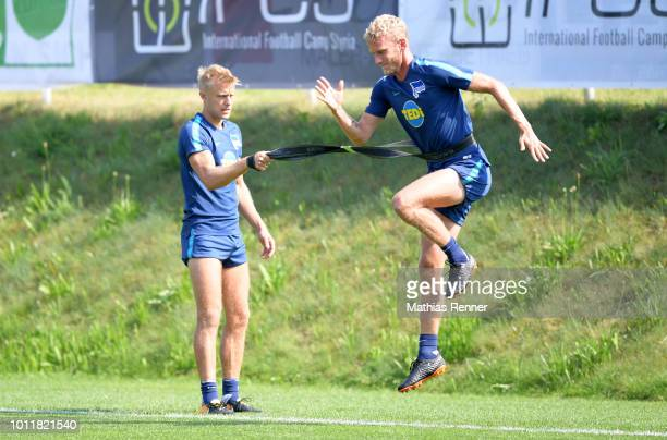 Per Skjelbred and Fabian Lustenberger of Hertha BSC during the training camp on august 6 2018 in Schladming Austria