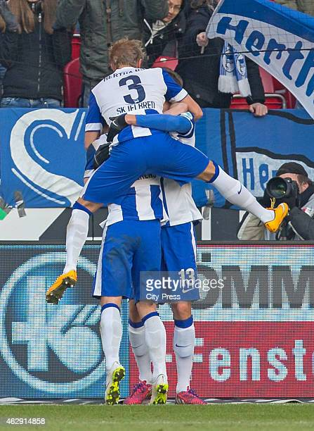 Per Skjelbred and Jens Hegeler of Hertha BSC celebrate after scoring the 0:1 during the game between FSV Mainz and Hertha BSC on february 7, 2015 in...